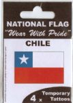 Chile Country Flag Tattoos.